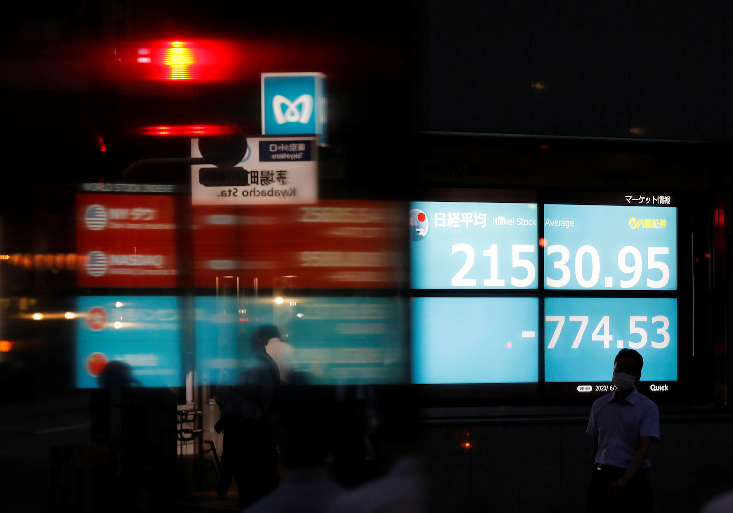 A stock quotation board in Tokyo
